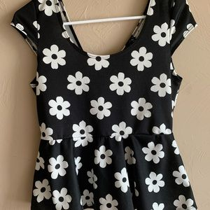 Black Top with White Flowers